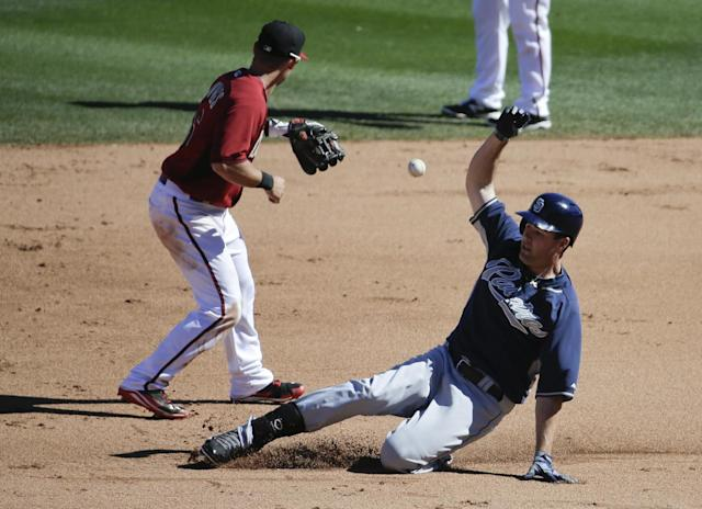 San Diego Padres' Seth Smith, right, is safe at second after hitting a double as Arizona Diamondbacks shortstop Chris Owings waits for the throw during the fifth inning of a spring exhibition baseball game in Scottsdale, Ariz., Sunday, March 9, 2014. (AP Photo/Chris Carlson)