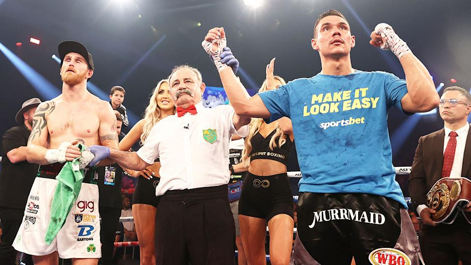 Tim Tszyu, pictured here after winning the WBO Global Super Welterweight title against Dennis Hogan.