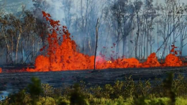 """<p>At least 22 lava fissures have opened in lower Puna, Hawaii, since a May 4 earthquake near the Kilauea volcano.  The Star Advertiser said at least 47 structures had been destroyed.</p><p>A presidential disaster declaration has been issued for the Kilauea area, according to <a href=""""http://www.hawaiinewsnow.com/story/38240611/as-lava-hits-the-sea-plumes-of-toxic-gas-and-shards-of-glass-shoot-into-air"""" target=""""_blank"""">local reports</a>.</p><p>Hawaii News Now said that rivers of lava continued to threaten homes, with eruptions also releasing dangerous gases. Lava entering the ocean was creating high levels of gas, Hawaii Civil Defense said.</p><p>This video shows activity from fissures 17 and 20 in Lanipuna Gardens, Hawaii, on May 18. Credit: Andrew Hara via Storyful</p>"""
