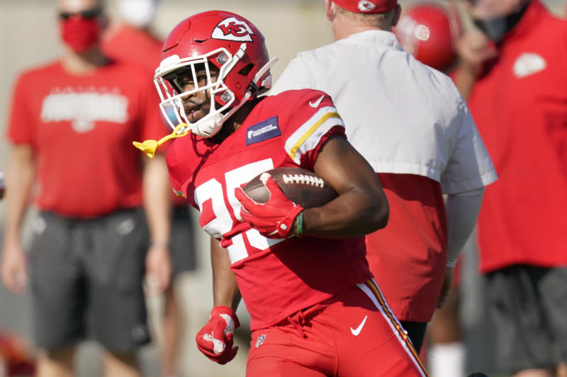 Kansas City Chiefs running back Clyde Edwards-Helaire should have a featured role this season. (AP Photo/Charlie Riedel)