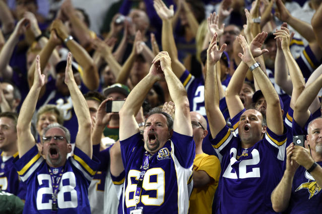"Vikings fans perform the ""Skol"" clap at the 2016 home opener – the game at which the chant was introduced. (Getty)"