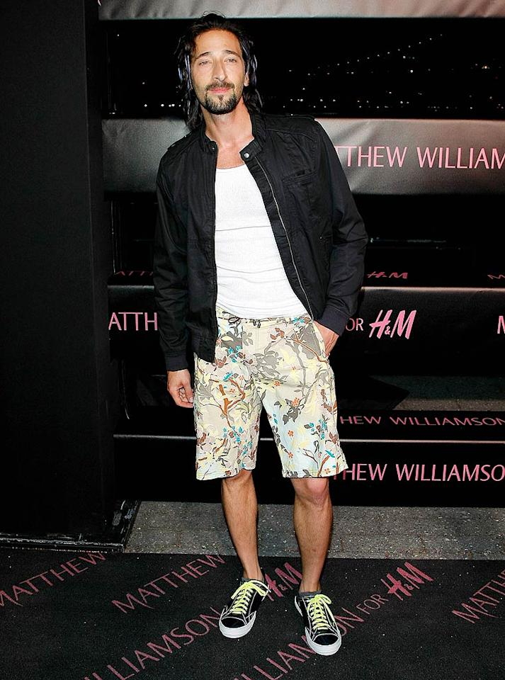 "What possessed Adrien Brody to wear a wife beater, board shorts, and sneakers to the formal Matthew Williamson fashion launch in NYC? Jemal Countess/<a href=""http://www.wireimage.com"" target=""new"">WireImage.com</a> - April 28, 2009"