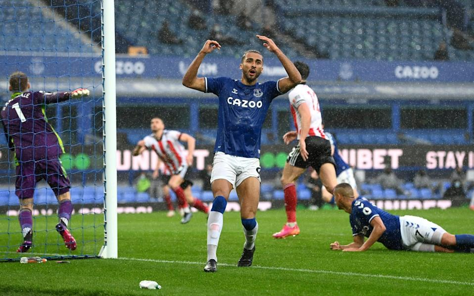 Dominic Calvert-Lewin throws his arms up in the air in disbelief - AP