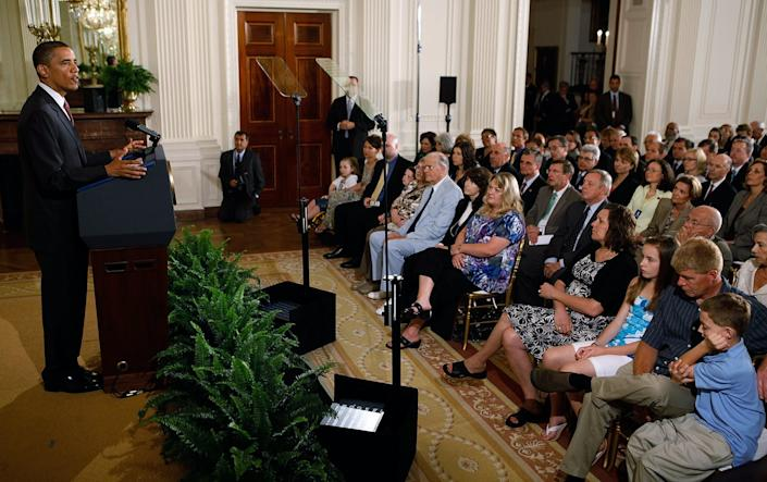"""<span class=""""caption"""">June 2010: President Barack Obama delivers remarks during an event marking the 90-day anniversary of the signing of the Affordable Care Act.</span> <span class=""""attribution""""><a class=""""link rapid-noclick-resp"""" href=""""https://www.gettyimages.com/detail/news-photo/president-barack-obama-delivers-remarks-during-an-event-to-news-photo/102299901?adppopup=true"""" rel=""""nofollow noopener"""" target=""""_blank"""" data-ylk=""""slk:Getty Images / Chip Somodevilla"""">Getty Images / Chip Somodevilla</a></span>"""