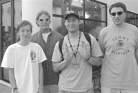 Seth McGann (L-R), Andrew Reiter, Dug Song, and Jan Koum are pictured at the DefCon hacker convention in Las Vegas, Nevada in this 1999 handout photo. WhatsApp co-founder Koum recently attended a reunion of his old security group, w00w00 in San Francisco, California February 26, 2014. REUTERS/Ejovi Nuwere/Handout via Reuters