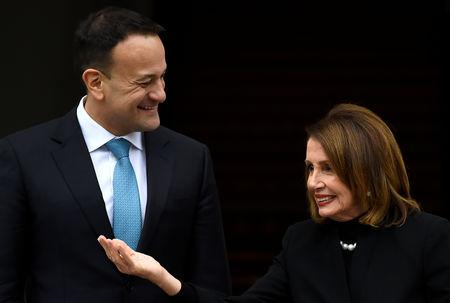 U.S. House Speaker Nancy Pelosi gestures as Ireland's Prime Minister (Taoiseach) Leo Varadkar welcomes her at the Government Buildings in Dublin, Ireland April 16, 2019. REUTERS/Clodagh Kilcoyne