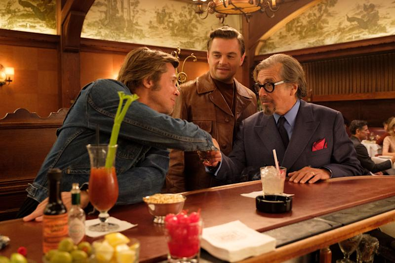 Musso and Frank Grill provides an authentic setting for a meeting with Dalton, his sidekick/stunt double Cliff Booth (Brad Pitt), and agent Marvin Schwarzs (Al Pacino).