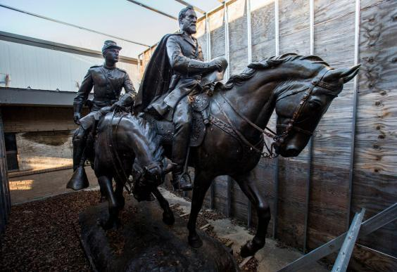 The reason behind the purchase of the Robert E Lee statue by a local law firm in Dallas remains unclear (AP)