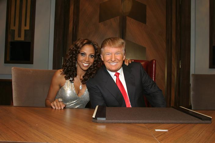 Holly Robinson Peete says President Donald Trump called her the N-word during the finale of The Celebrity Apprentice. Here they are during the final episode on May 16, 2010 in New York City.