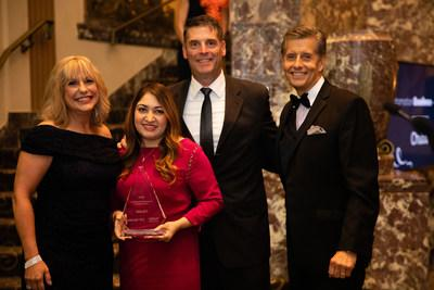 Kulsoom Gul, Platform Program Manager and leader of the Chubb Marketplace user experience accepts the 2019 Automation Excellence Award from NetVU at the recent Accelerate conference. Pictured, from left, are: Linda Dodson, NetVU Executive Director (Irving, TX); Kulsoom Gul, Chubb (Whitehouse Station, NJ); Michael Whitehead, Jr., AVP, Distribution Leader, Chubb Small Commercial (Cincinnati, OH); and Steven Aronson, CIC, President of Aronson Insurance (Needham, MA).