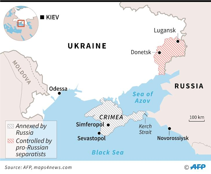 Map locating Crimea, annexed five years ago by Russia, and Kerch Strait where the Ukrainian sailors and ships were seized by Russia (AFP Photo/Sébastien CASTERAN)