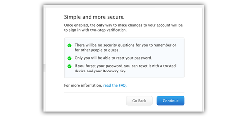 Screen explaining two-factor authentication