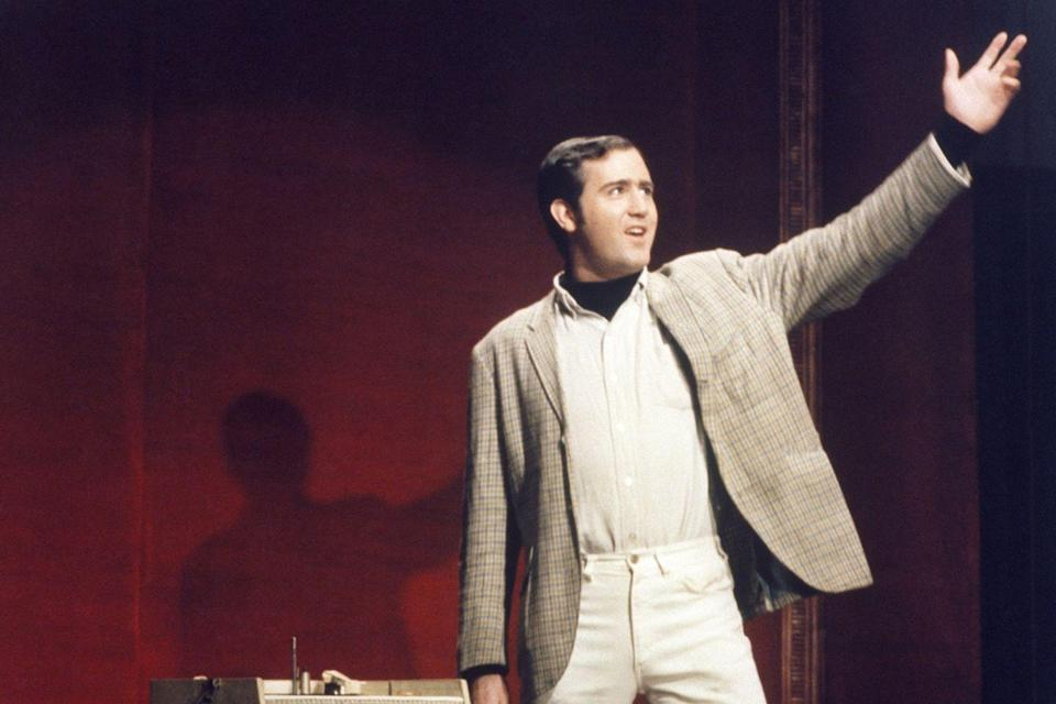 <p>Andy Kaufman takes the stage on October 11th for a guest performance on the very first episode of <em>Saturday Night Live</em>.</p>