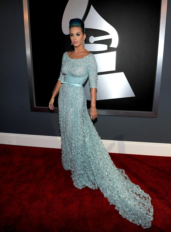 LOS ANGELES, CA - FEBRUARY 12:  Singer Katy Perry arrives at the 54th Annual GRAMMY Awards held at Staples Center on February 12, 2012 in Los Angeles, California.  (Photo by Larry Busacca/Getty Images For The Recording Academy)