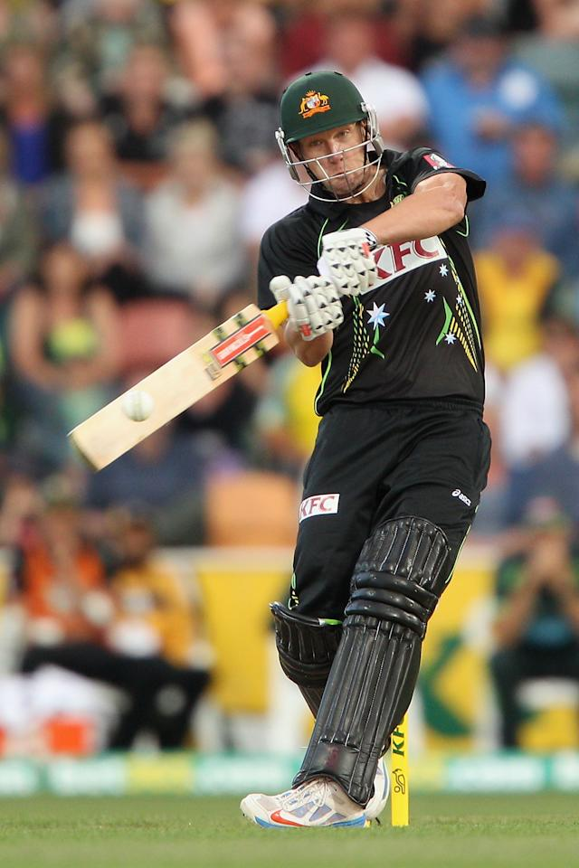 HOBART, AUSTRALIA - JANUARY 29:  Cameron White of Australia plays a shot during game one of the International Twenty20 series between Australia and England at Blundstone Arena on January 29, 2014 in Hobart, Australia.  (Photo by Robert Prezioso/Getty Images)