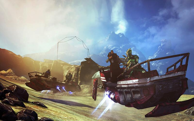 """This undated publicity image released by 2K Games shows the sand skiff in the video game, """"Borderlands 2."""" The new campaign tasks players with battling new enemies like sand worms, hovering across the terrain in the new sand skiff vehicle and collecting a new currency called seraph crystals. (AP Photo/2K Games)"""