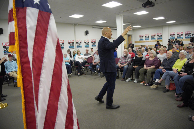 Democratic presidential candidate Sen. Cory Booker, D-N.J., addresses the crowd during an election stop at the Sioux City Public Museum in Sioux City, Iowa, Monday, April 15, 2019. (AP Photo/Nati Harnik)