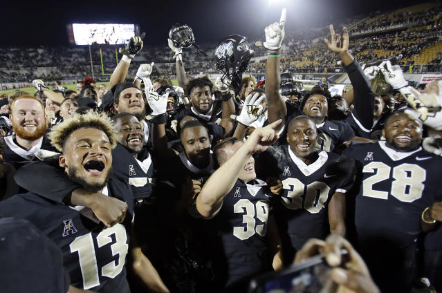 Central Florida wasn't celebrating their ranking in the most recent College Football Playoff poll. (AP Photo/John Raoux)