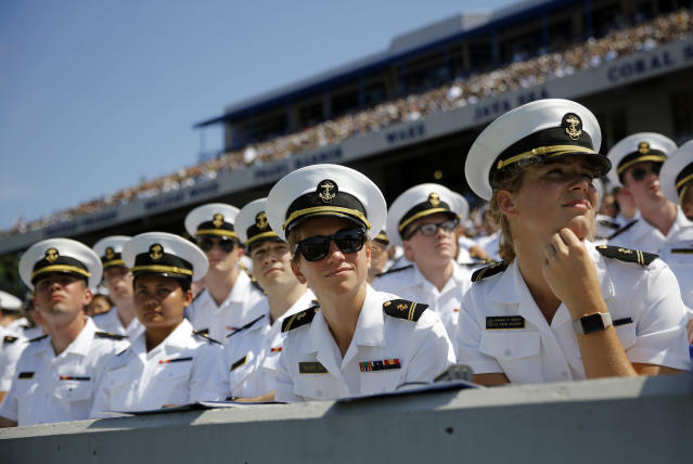 <p>U.S. Naval Academy midshipmen listen as President Donald Trump delivers remarks during the Academy's graduation and commissioning ceremony, Friday, May 25, 2018, in Annapolis, Md. (Photo: Patrick Semansky/AP) </p>