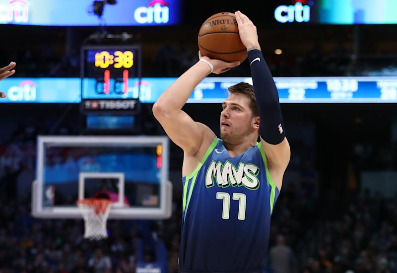 Luka Doncic has been invited to participate in this year's three-point contest. (Ronald Martinez/Getty Images)