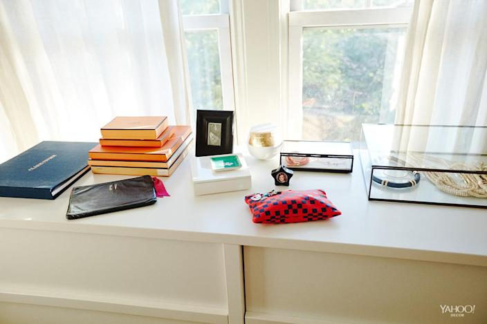 <p>My dresser with a few of my favorite accessories. I use my own pouches every day!</p>
