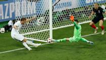 <p>First his one-on-one shot is saved before somehow Subasic turns Kane's follow up onto the post after a bit of pingball. The offside flag was up, but it would have been overturned by VAR if Kane had scored </p>