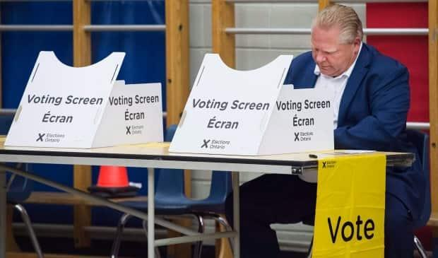 Ontario Progressive Conservative Leader Doug Ford casts his vote on June 7, 2018, when he was elected premier. His leadership during the pandemic is being questioned, but there's no guarantee that dissatisfaction reflected in polls will last until the next election in June 2022. (Nathan Denette/The Canadian Press - image credit)
