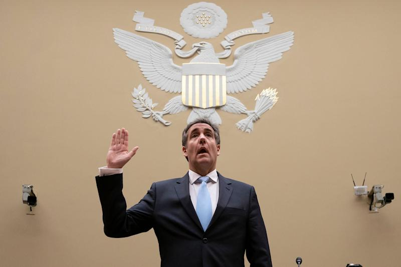 Michael Cohen, President Donald Trump's former personal lawyer, is sworn in to testify before the House Oversight and Reform Committee about his behind-the-scenes knowledge of Trump's activities, including possible criminal conduct, on Capitol Hill in Washington, Wednesday, Feb. 27, 2019. (Photo: J. Scott Applewhite/AP)