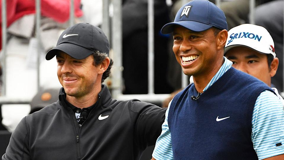 Rory McIlory (pictured left) sharing a laugh with Tiger Woods (pictured right).