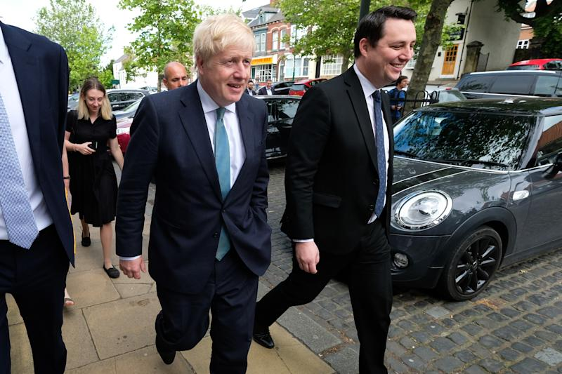 Conservative party leadership candidate Boris Johnson with Ben Houchen, Tees Valley Mayor during a visit to Guisborough, North Yorkshire.