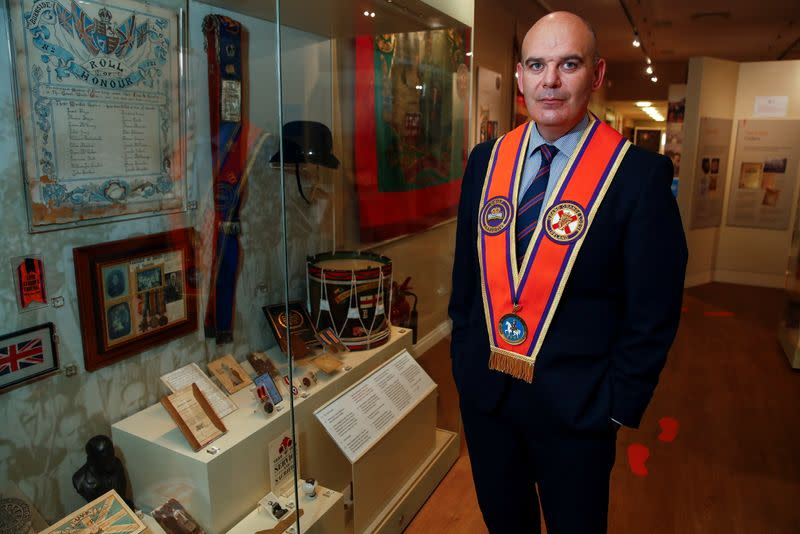 The Orange Order Chief Executive Carlisle speaks during an interview, in Belfast