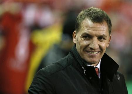 Liverpool manager Rodgers reacts before their English Premier League match against Aston Villa at Anfield in Liverpool