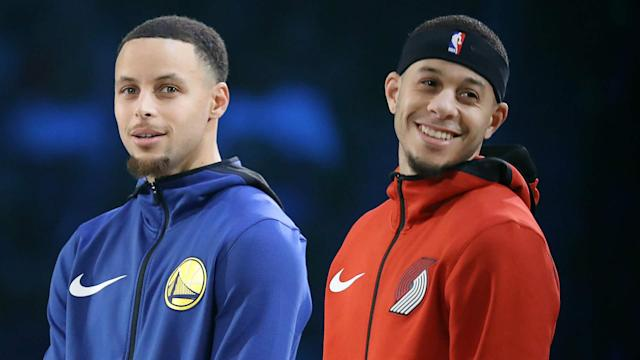 Dell and Sonya Curry have been busy travelling to watch their sons Stephen and Seth play, and Steve Kerr praised the family.