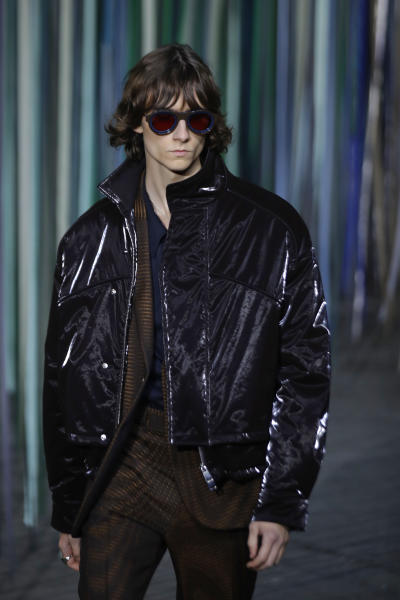A model wears a creation as part of the Ermenegildo Zegna men's Fall-Winter 2020/21 collection, that was presented in Milan, Italy, Friday, Jan. 10, 2019. (AP Photo/Luca Bruno)