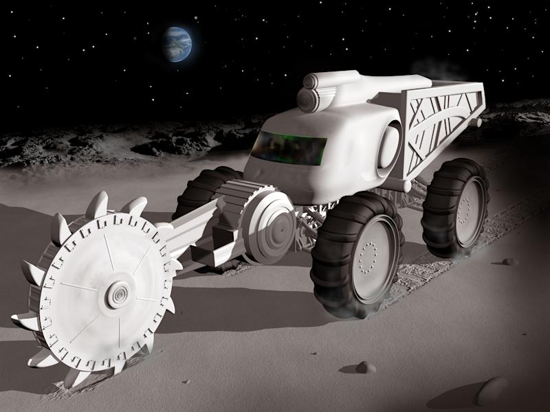 Computer rendering of a space mining truck cutting into the lunar surface