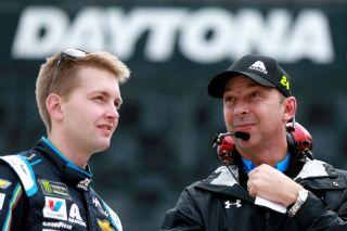 William Byron and Chad Knaus debrief after Byron won the pole for last year's Daytona 500. (Photo by Sean Gardner/Getty Images)