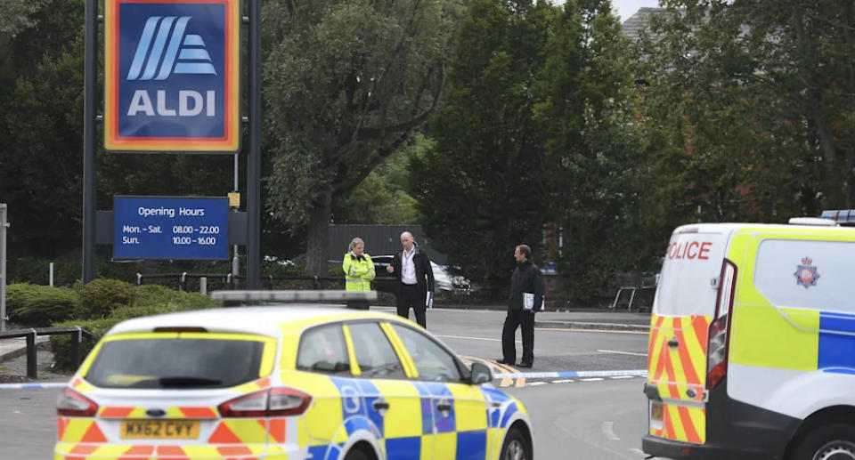 Police were called to a mass brawl at the Aldi in Gorton, Manchester, in the early hours of Sunday. Source: Reach