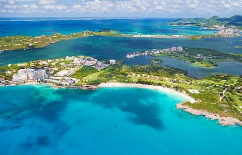 Aerial view of Mullet and Cupecoy bay in St Maarten - Credit: iStock