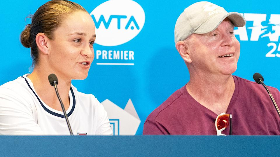 Ash Barty and coach Craig Tyzzer, pictured here at the 2020 Adelaide International.
