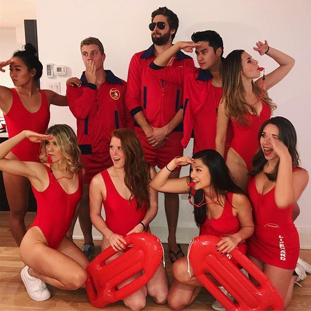 """<p>Don a red high-cut one-piece swimsuit, white sneakers, and a rescue can, and you're ready to recreate the famous <em>Baywatch</em> slow-mo running scene all night long.</p><p><a href=""""https://www.instagram.com/p/Ba0bWUgAmbR/?utm_source=ig_embed&utm_campaign=loading"""" rel=""""nofollow noopener"""" target=""""_blank"""" data-ylk=""""slk:See the original post on Instagram"""" class=""""link rapid-noclick-resp"""">See the original post on Instagram</a></p>"""