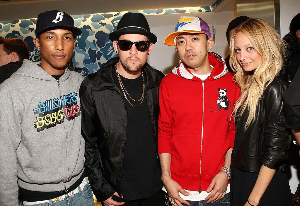 "Producer/rapper Pharrell Williams, Good Charlotte rocker Joel Madden, designer Nigo, and ""Simple Life"" socialite Nicole Richie add some star power to the celebration. Arnold Turner/<a href=""http://www.wireimage.com"" target=""new"">WireImage.com</a> - April 23, 2008"