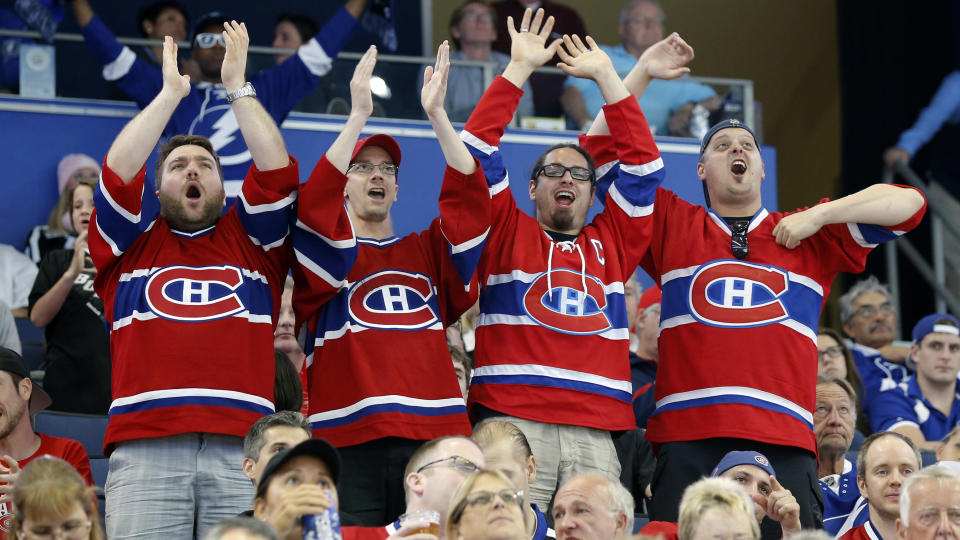 Montreal Canadiens fans of a certain age are reported to be at risk of a heart attack in the aftermath of on-ice triumph. (AP Photo/Mike Carlson)