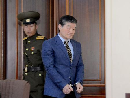 Korean American Kim Dong Chul enters a courtroom in this undated photo released by North Korea's Korean Central News Agency (KCNA) in Pyongyang April 29, 2016. KCNA/via Reuters/File Photo
