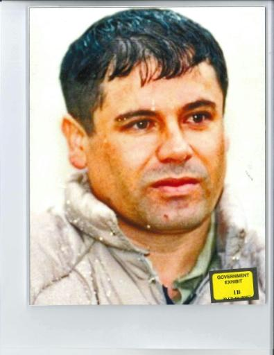 """This undated handout photograph obtained from Brooklyn federal court on November 26, 2018, shows a photo of Mexican druglord Joaquin """"El Chapo"""" Guzman, shown to the jury during his trial in Brooklyn federal court"""