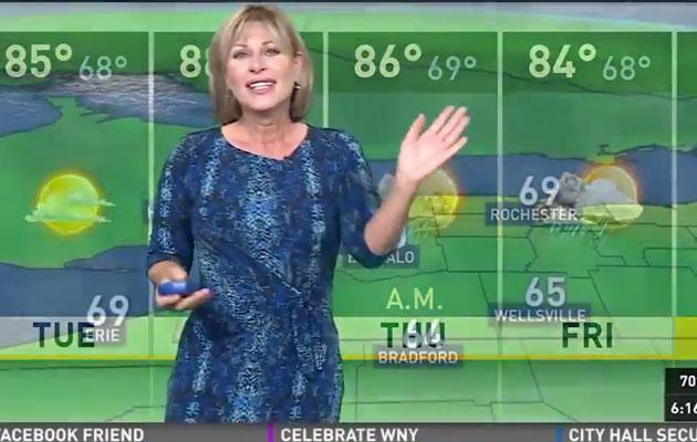 The show must go on - eventually Marie manages to pull it back for the presenters. Source: WGRZ.com