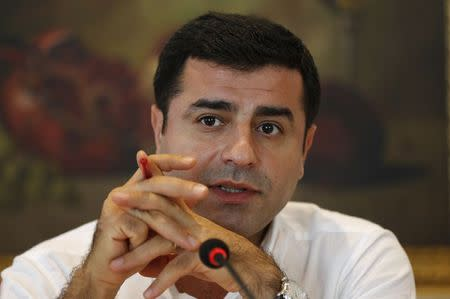 Demirtas, co-chairman of the pro-Kurdish HDP party and presidential candidate, speaks during a news conference in Istanbul