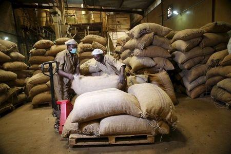 Workers arrange bags containing cocoa beans at a cocoa processing factory in Ile-Oluji village in Ondo state, southwest Nigeria