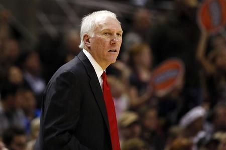 Dec 13, 2013; San Antonio, TX, USA; San Antonio Spurs head coach Gregg Popovich reacts during the second half against the Minnesota Timberwolves at AT&T Center. The Spurs won 117-110. Soobum Im-USA TODAY Sports