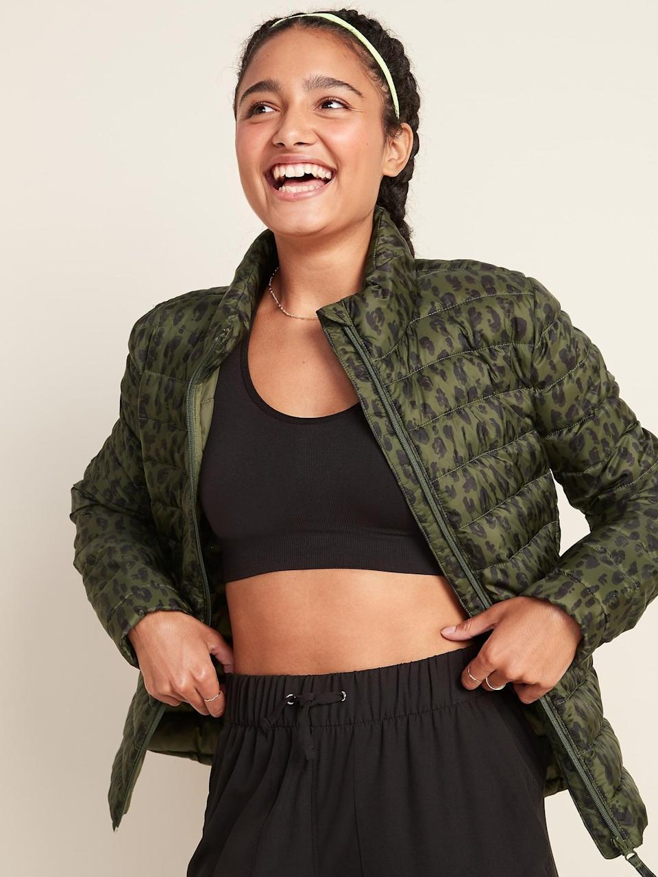 <p>Depending on where you live, morning walks can be chilly and foggy, so you'll want to grab something lightweight like this <span>Go-H20 Water-Resistant Narrow-Channel Puffer Jacket </span> ($50, originally $55).</p>
