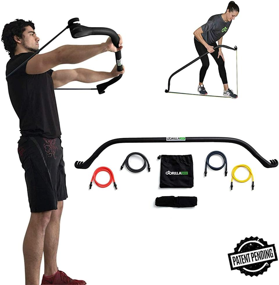 <p>If you're not at your gym right now and are short on space, these <span>Gorilla Bow Portable Home Gym Resistance Bands</span> ($200) are amazing. The possibilities are endless.</p>